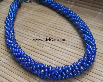 Blue Beads Crochet Necklace