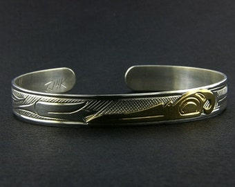 Northwest Coast Native Cuff Bracelet, Hand-Engraved 14 Karat Gold and Sterling Silver