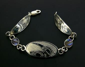 Northwest Coast Native Sterling Birthstone Charm Link Bracelet