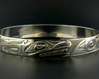 Native Bangle Sterling Hand-Engraved Orca Design First Nations Art