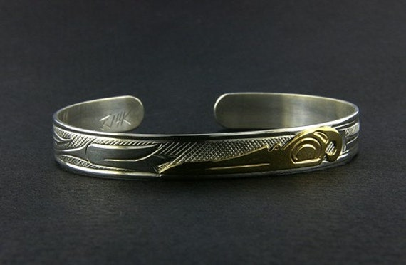Northwest Coast Native Cuff Bracelet, Hand-Engraved 14 Karat Gold and Sterling Silver