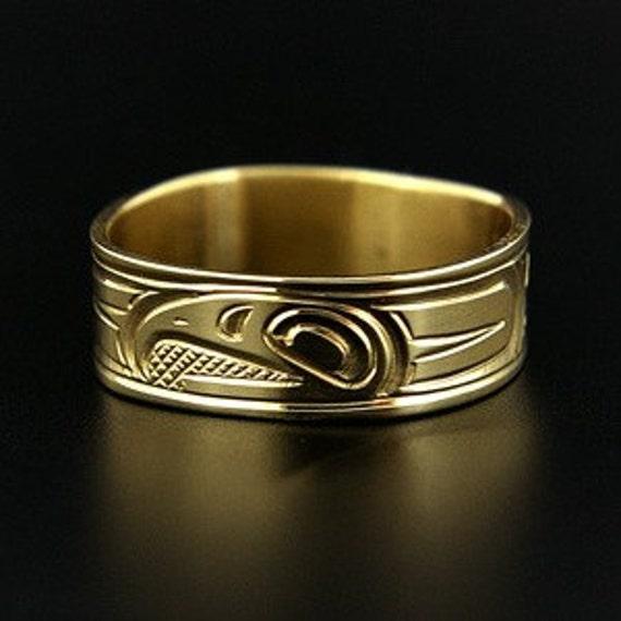 14k yellow or white gold wedding band northwest coast native ring - Native American Wedding Rings