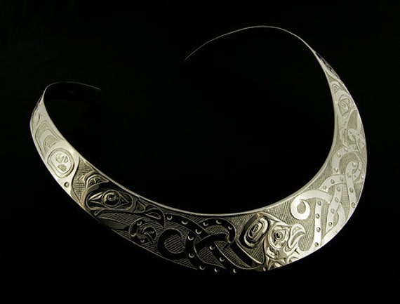 Northwest Coast Native Silver Choker Collar Necklace Octopus and Ravens