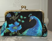 Peacock Clutch/Purse/Bag..Long Island Bride/Bridal/Wedding Gift..Gold outlined Florals..Silk lined Cotton..Personalized Monogram Free