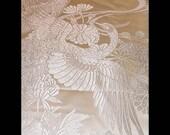 Japanese Silk Kimono Fabric/Scarf/Shawl/Wrap..Peacocks..Cranes/matching Clutch..Bridal Blush