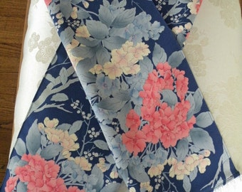 Silk Kimono Fabric Wrap/Shawl/Scarf..Bridal Gift..Floral Blossoms..Clutch to match