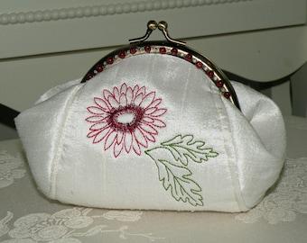 Embroidered Chrysanthemum Clutch/Purse/Bag..Junior Bridesmaid Wedding Gift..Flower Girl..Silk..Beaded Frame..Red Burgundy..Free monogram