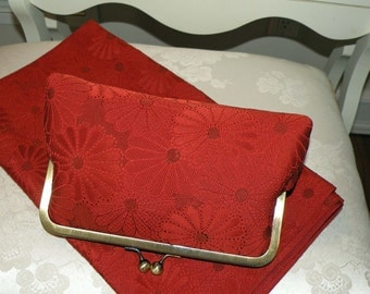 Silk Kimono Fabric Clutch/Purse/Bag/Chrysanthemum..Vermillion Red..Bridal..Wedding Gift..Bridesmaid..Free Monogram..Scarf/Wrap available