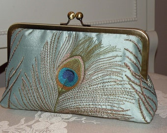 Peacock Feather Clutch/Purse/Bag..Bridal/Bridesmaid Gift..Ocean Mist..Embroidered Silk Dupioni Luxury..Free Monogram