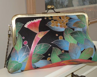 Peacock Clutch/Purse/Bag..Silk Kimono Fabric..Bridal/Wedding Gift....Florals..Magenta/Black/Teal Green..OOAK...last one