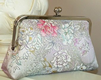 Silk Kimono Clutch/Purse/Bag..Orchids..Roses..Cherry Blossoms..Pastels/Lavendar..Bridal/Wedding Gift..see Wrap/Scarf..OOAK