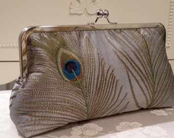 Larger 10inch Peacock Feather Embroidered Silk Clutch/Purse/Bag..Bridal/Wedding Gift..Free Monogram..Silver/Navy/Ivory/Gold/Taupe/Seafoam