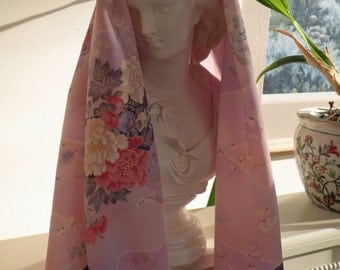 Silk Kimono Fabric Wrap/Shawl/Scarf..Bridal Gift..Cherry Blossom..Chrysanthemum..Asian Fans..Clutch available