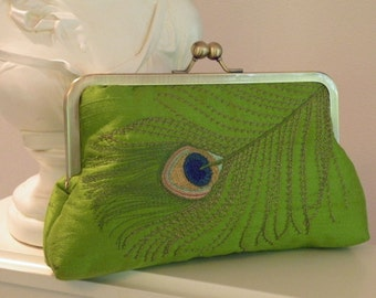 Peacock Feathers Embroidered Silk Clutch/Purse/Bag.. Jewel Tone Green..Lavendar..Bridal..Gift..Free Monogram