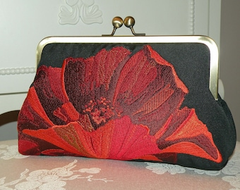 Fiery Oriental Poppy Clutch/Purse/Bag..Bridal/Wedding Gift..Embroidered..Free Monogram..Red/Gold on Black Silk Kimono Fabric..Red on Black