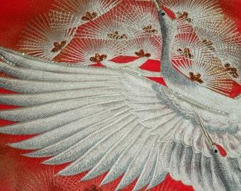 Large 10 inch Silk Kimono Fabric Bag/Purse/Clutch..Long Island Bridal/Wedding Gift..Embroidered Flying Crane/Florals..Rhinestones..see Wrap