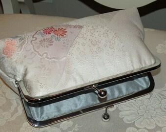 Clutch/Purse/Bag..Off White Silk Kimono Fabric..Cherry Blossom..Chrysanthemum..Something Bridal Blue..Wrap to match..Hochzeit..Kupplung
