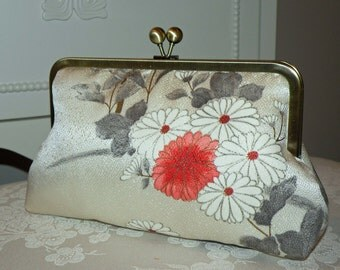 Silk Kimono Fabric Clutch/Purse/ Bag...Chrysanthemum...Florals..Bridal/Wedding/Gift..Wrap available.