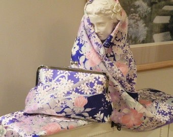 Silk Kimono Fabric Clutch/Purse/Bag..Long Island  Bridal/Wedding/Gift..Orchids..Cherry Blossoms..Roses..Lavendar/Seafoam..matching Wrap