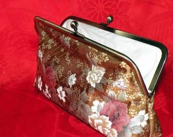 Silk Kimono Fabric Clutch/Purse/Bag..Long Island Bridal/Wedding Shower Gift..Cherry Blossom..Chrysanthemum..Golden Brown..Free Monogram