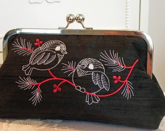 Birds On A Branch/Black Silk Dupioni Fabric Clutch..Bridal Gift..Chickadee Embroidered in shades of white and red..