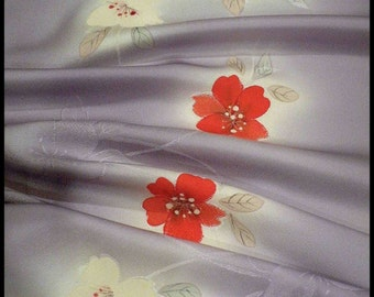 Silk Kimono Fabric Scarf/Shaw/Wrap/Shrug..Lavendar/Red Cherry Blossom..Bridal Wedding Gift..Clutch available