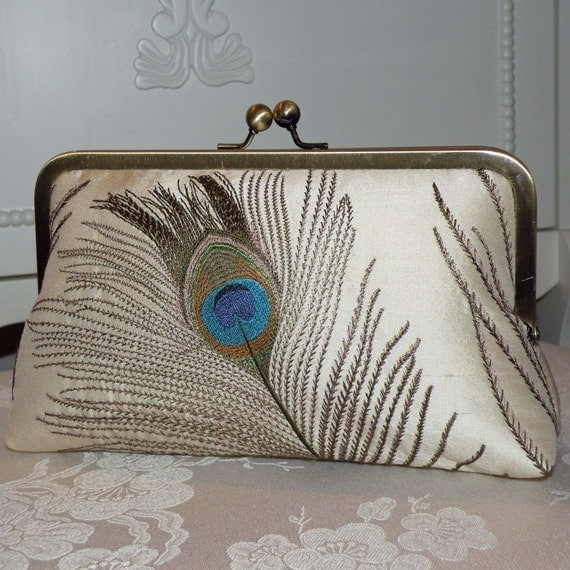 Peacock Feathers Embroidered Silk Luxury Clutch/Purse Ivory..Something New Something Blue