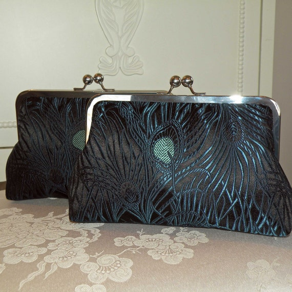 Peacock Feather Clutch/Purse/Bag.. Silk Brocade..Black/Blue/Torquoise..Wrap available..Free Monogram