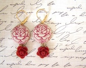 "crimson roses, textile earrings ... ""upholstered"" fabric covered button earrings, in red and cream"