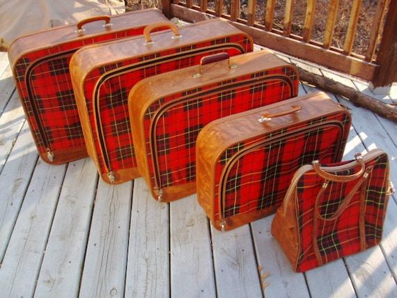 Vintage Tartan Red Luggage Set Five Piece