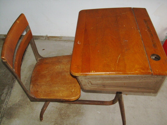 Vintage School Desk Wood with Ink Well Hole