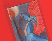 "ACEO original, Dragon Art, fantasy, painting, crimson, ultramarine, smoky grey,  ""Dragon Call to Arms"""