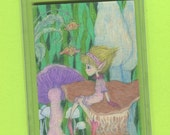 Pixie Fantasy ACEO, pink, yellow purple, green, Pixie All Dressed Up sitting on a Mushroom