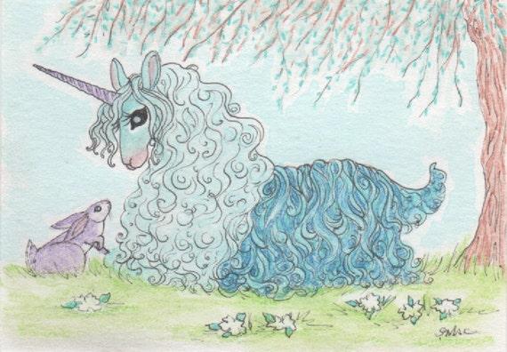 "Unicorn ACEO, Artist Trading Card, Alpaca, illustration, rabbit, turquoise green, turquoise blue - ""Unicorn Alpaca with Rabbit"""