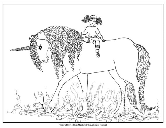 unicorn coloring pages online | Items similar to Fantasy Coloring Page, Unicorn, little ...