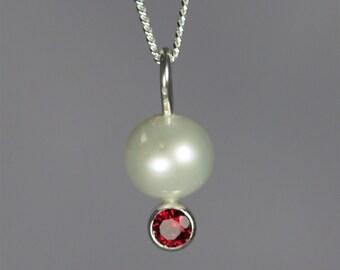 Pearl Drop Neck w-Stone (Garnet)