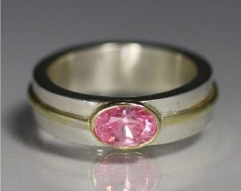 1 Stone Oval Wrap Ring 14K (Pink Tourmaline) Made to Order