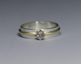 1 Stone Wrap Ring 14k (Genuine Aquamarine) (made to order)