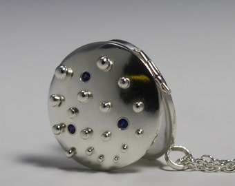 "Locket- Rain Droplet w-Stones,Med. (Sapphire) (24"") (Made to order)"