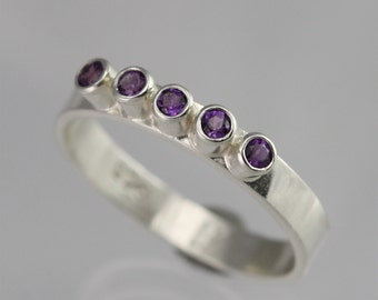 5 Stone Ring (Amethyst) Made to Order