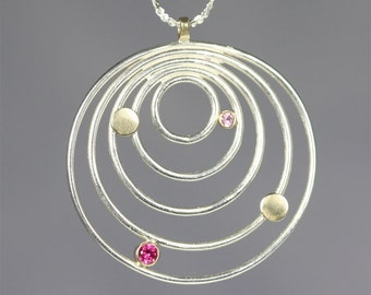 5 Circle Galaxy Neck 14K (Ruby, Pink Tourmaline)
