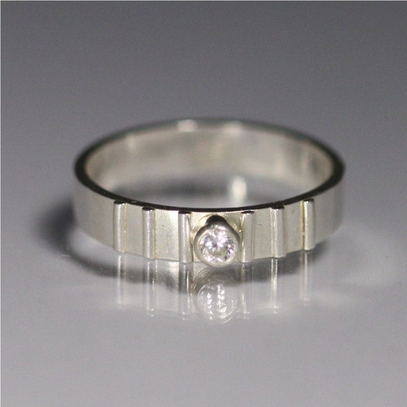 1 Stone w-6 Lines (Cubic Zirconia) Made to Order