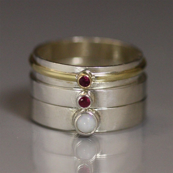 Ring Stack 14k Gold, Genuine Ruby, Opal (made to order)