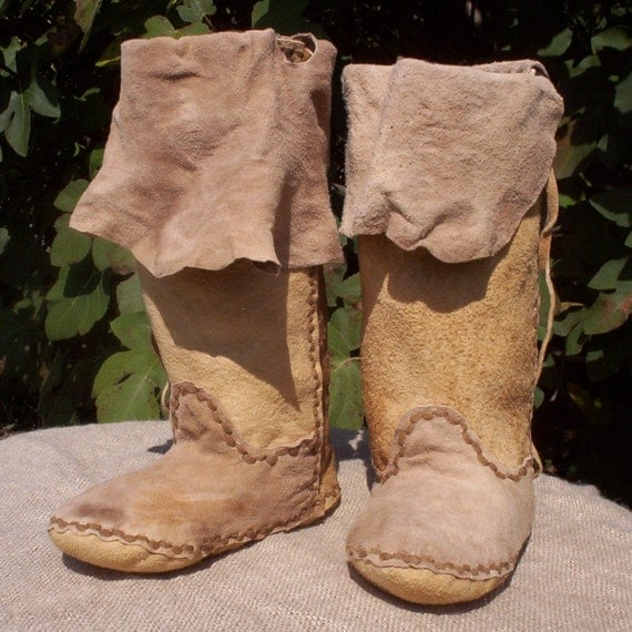 Brain Tanned Buckskin Plains Moccasin Boots 5 6