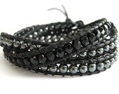 ALL Items 5% Off w/ HOLIDAYCOUNTDOWN Coupon Code / Goes with everything Hematite and Onyx Leather Wrap Bracelet