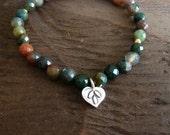 Silver Tranquility & Awareness Mala Bracelet - Jasper Mala, Semiprecious, Buddhist, Yoga, Prayer Beads, Jewelry