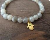 Spiritual Awakening & Intuition Mala Bracelet - Labradorite Mala Bracelet - Hamsa Hand, Yoga, Meditation, Healing Jewerly, Women's Bracelet
