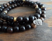 Ebony Layering Mala Bracelet - Buddhist Worry Beads - Om, Ebony, Meditation, Yoga, Wrap Bead Bracelet, Reiki, Mala