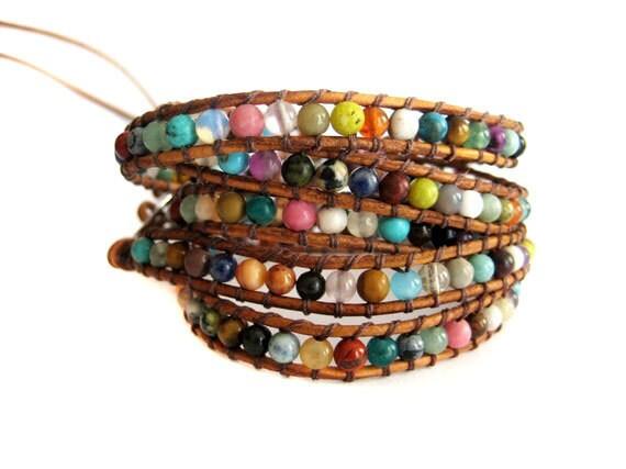 Bohemian Leather Wrap Beaded Bracelet with Multi Colored Semi Precious Stones
