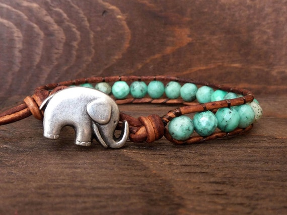 Simple Turquoise Agate Leather Cuff Bracelet on Distressed Natural Leather
